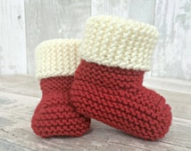 Christmas Booties, Knitted Santa Booties, Christmas Baby Shoes, Santa Boots, Hand Knit Baby Booties, Merino Bootees, Stay On Booties