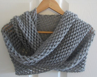 Grey Knit Shawl - Light Grey Shawl - Hand Knit Lacy Summer Wrap - Hand Knitting - Made in Canada - Spring Accessory - Formal Wrap