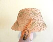 1920s Vintage Antique Cloche style bucket hat. Sequin flapper hat. Wool hat.