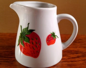 Geroges Briard White Porcelain Creamer Pitcher with Strawberries