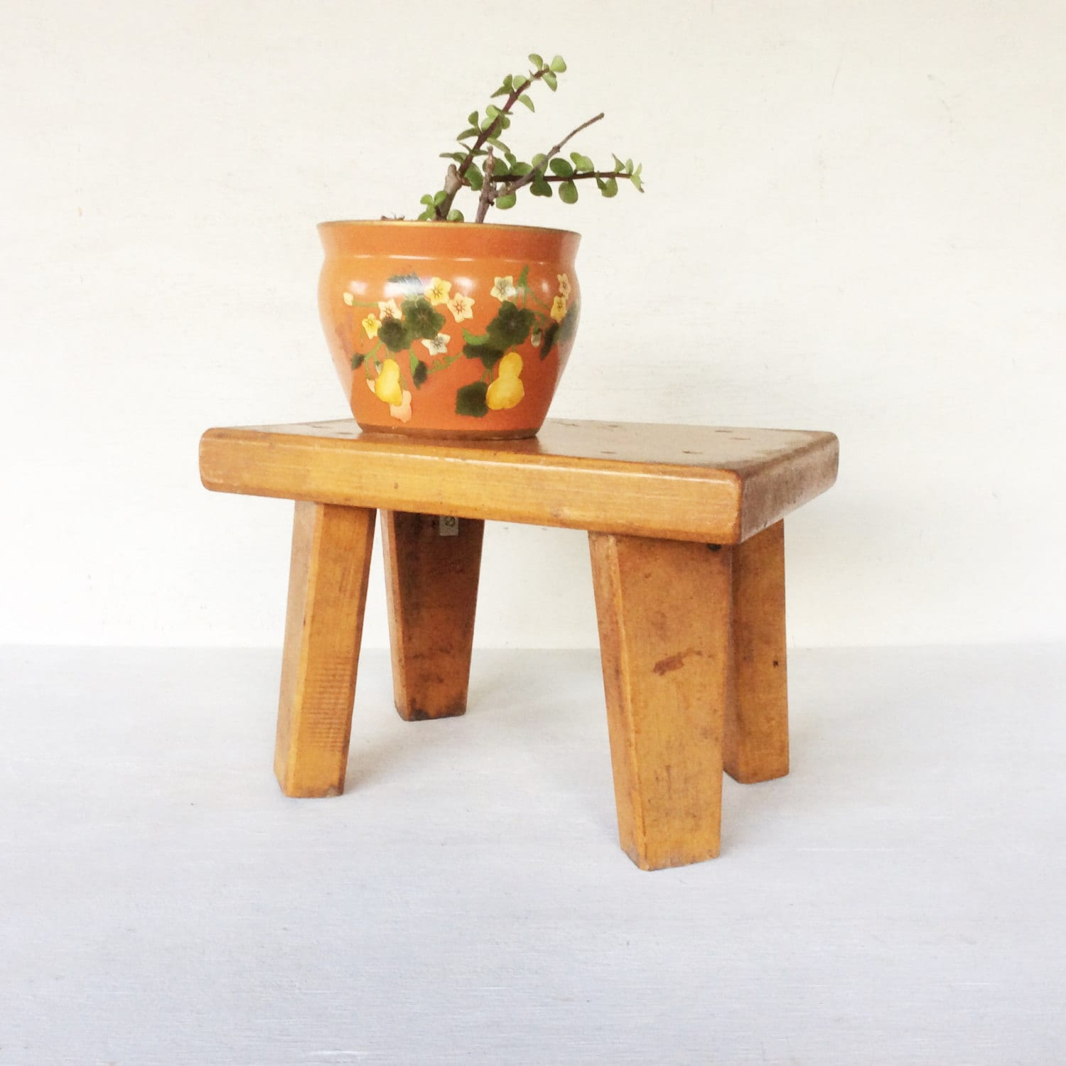 Rustic Farmhouse Style Small Solid Wood Step Stool Vintage