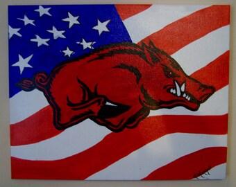 Licensed Original Razorback Acrylic Painting -  American Flag 16 X 20