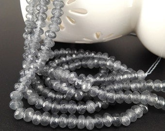 Full Strand 6x4mm 90pcs Gray Agate Faceted Rondelle Beads Agate Gemstone Beads