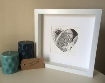 Zentangle Love Heart Drawing