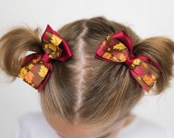 SALE! Fall Autumn Thanksgiving pinwheel hair bow pigtail set