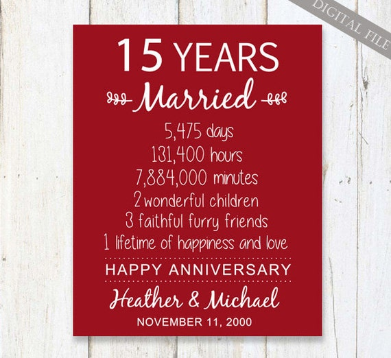Wedding Gifts For 15 Year Anniversary : 15th Anniversary Gift15 years Wedding AnniversaryPersonalized ...