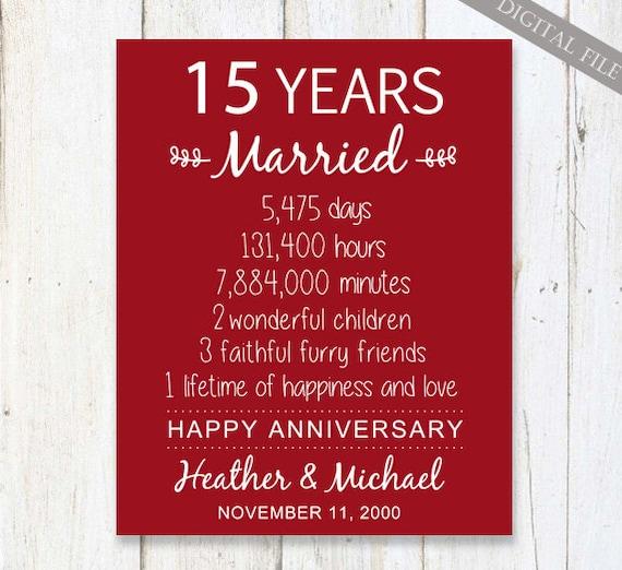 Wedding Gift 15 Years Anniversary : 15th Anniversary Gift - 15 years Wedding Anniversary - Personalized ...