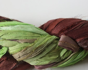 NEW** - Hand Dyed Double Colour Recycled Sari Silk Ribbon - 'Coco & Lime'