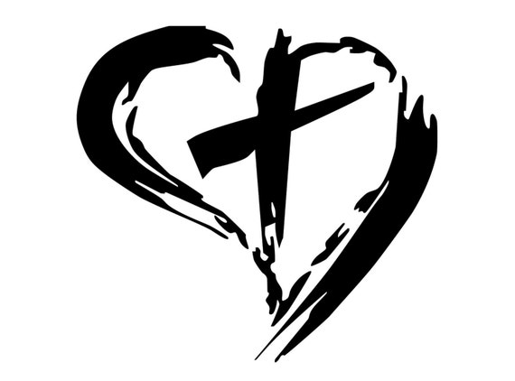 christian cross inside heart decal cross with around it