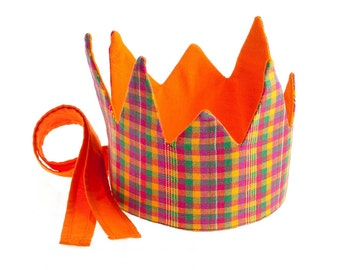 Fair trade Reversible Plaid Crown, forest, woodland waldorf pretend play toy