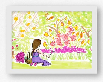 Gardening Art Print Art for Gardener Flower Garden Art Flower Artwork Girl Gardening Colorful Nature Outdoors Picking Flowers 5x7 Wall Art