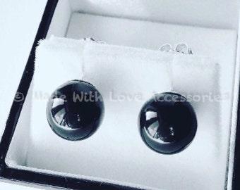 Black Pearl Earrings - Swarovski Pearl Stud Earrings - Bridal Jewellery - Wedding Accessories - Bridesmaids Gifts - Mothers Day Gift Ideas