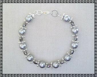 Swarovski bracelet, grey bracelet, silver bracelet, crystal bracelet, swarosvki, silver