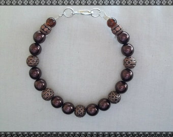 brown bracelet, dark brown bracelet, bronze bracelet, bronze
