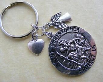 Saint Christopher KEYRING keychain Guardian Angel Heart Patron Saint of Travelers st