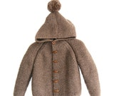 Hand Knitted Baby Wool Hoodie Cardigan/Jacket, Chunky, Duffel Coat, raglan with pom pom, picture color Dark Mink