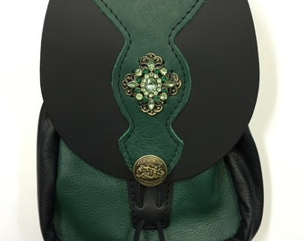 Large Green Embellished Belt Pouch