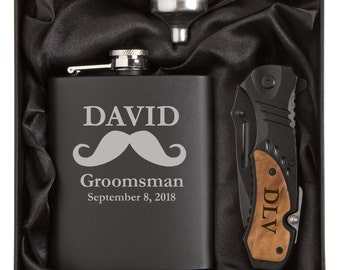 Engraved 7oz Stainless Steel Mustache Flask Funnel Rescue Knife Gift Box MATTE BLACK Personalized Custom