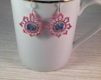 Blue Glass Blush Bead Woven Earrings