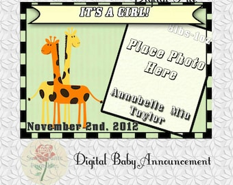 Giraffe Baby Announcements, animals party, printable animal, Personalized