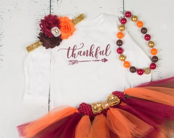 THANKFUL Baby Girl Outfit, Baby Thanksgiving Outfit, First Thanksgiving Outfit, Girls Thanksgiving Outfit, Thanksgiving Outfit