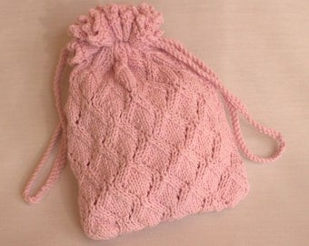 Girls Hand Knitted Bridesmaid Pink Lace Pullstring Wrist Bag