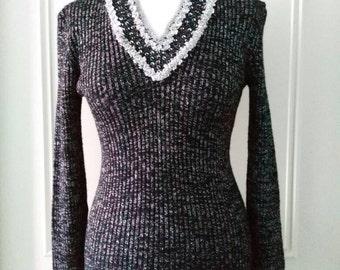 Skyler 1970's vintage sparkly black 70's vintage jumper black sequineed jumper size 10