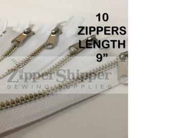 "9"" Zippers (23 cm), Metal Handbag Zippers, #4 Nickel Medium Weight With Nonlock Pulls, WHITE, Wholesale Set of 10 Pieces"