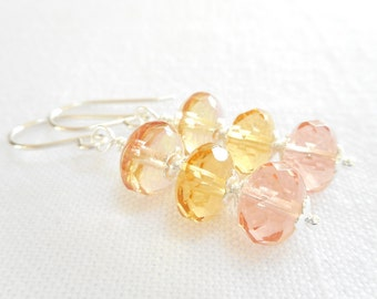 Peach, Pink and Yellow Czech Glass Beaded Drop Earrings, Dangle Earrings, Czech Glass Jewelry, Glass Bead Jewelry, Multi Color Earrings