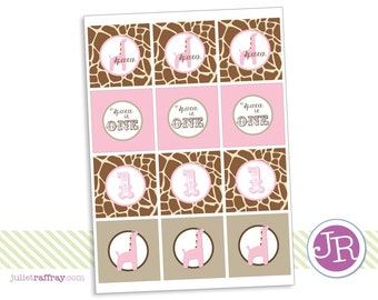 Giraffe Themed Birthday Party Circles/Favor Tags