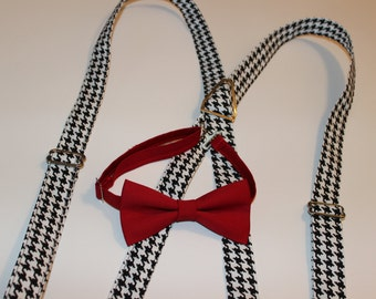 Black & White Houndstooth Suspenders Only