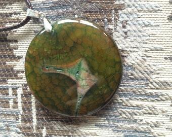 77- Round Avacado Dragon Veins Pendant Necklace - Green Dragon Veins Agate Pendant Necklace - Blue Dragon Veins Agate Pendant Necklace