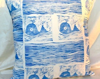 Whale print pillow case; pillow; pillow case; hand made cushion cover