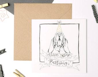 basset hound birthday card (hound card, dog love, card for dog lover, cute dog card, dog lover card)