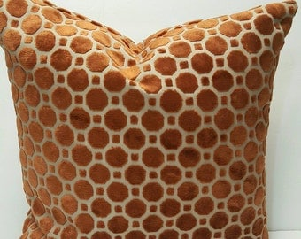 Velvet Geo Copper by Robert Allen@Home Fabric Decorative Throw Indoor Pillow Cover with Hidden Zipper
