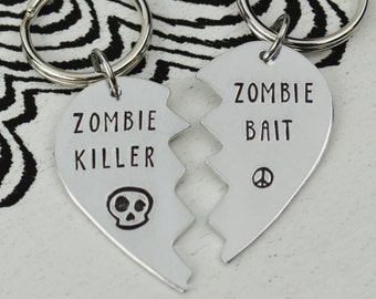 Zombie Buddies Keychain Set - Best Friend Gift