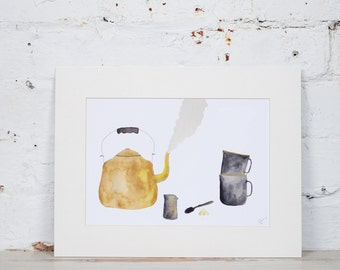 Yellow Enamel Kettle and Mugs 'Tea for Two' Watercolour Art Print. Teapot, Cups, Milk Jug and Spoon.