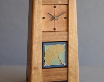 Arts & Crafts / Craftsman Quartersawn Oak Clock with Ginkgo Leaf Tile