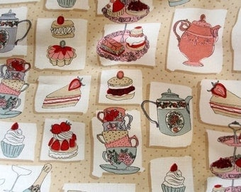 """Cotton Fabric Food/Kitchen Theme Fabric by the Yard 44"""" Wide sh Dessertcafe"""