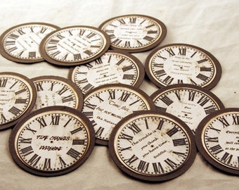 vintage looking,handmade,clock face, time sentiment