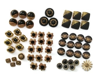 Vintage Black and Gold Plastic Shank Buttons Assortment - Lot of 60 Various Assorted Buttons - Several Sets Supplies for Sewing or Crafting