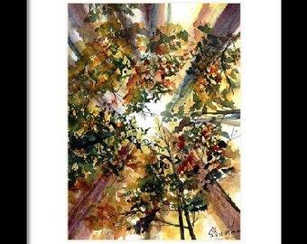 Landschap originele aquarel op aquarel papier abstract landschap schilderij muur kunst bomen bos inspirerend huis schilderij kunst
