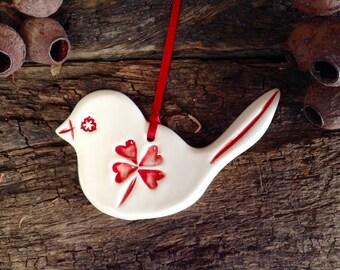 Handmade Ceramic Bird - Red and White Wren, Hearts, Four Leaf Clover