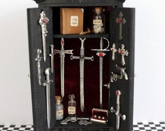 Dollhouse Miniature  Supernatural Vampire Werewolf Demon Hunter Weapons Cabinet   in 1:12 scale