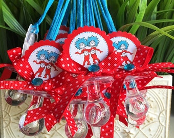 12 thing 1 and thing 2 baby shower- thing 1 and thing 2 favors- thing 1 thing 2 baby shower- dr seuss baby shower-cat in the hat party favor