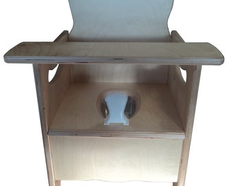 new wooden potty chair w/ latching tray, pot, and pee deflector  - nursery chair