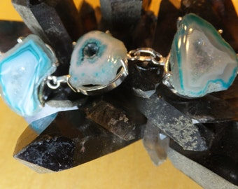925 Sterling Silver and  Green Druzy Agate and  Topaz Bracelet 7.5""