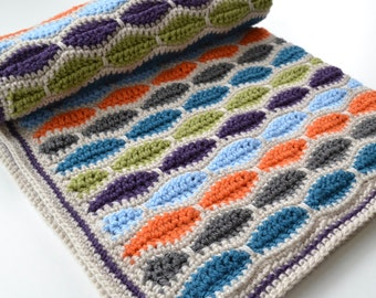 Multi coloured crochet blanket, Boys patterned blanket, Blue, Orange afghan, Stroller Blanket.