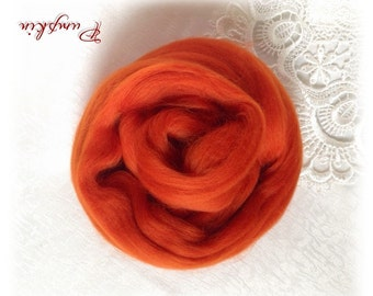 Extrafine Merino WOOL Dyed TOPS  19 Microns color Pumpkin per 25 gr felting spinning teddy bear making supplies