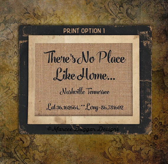 No Place Like Home| Latitude Longitude | Family Name | Est Date | GPS Coodinates | City State | House Warming Gift | 8x10 |#0204